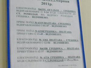 Фото: До 23 серпня через ремонт залізниці у Полтаві відмінили шість приміських поїздів