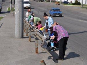 Фото: У Полтаві на суботнику пофарбували огорожі на дорогах (+фото)