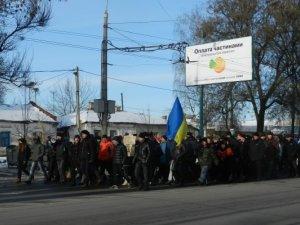 Фото: Полтава після штурму облради: похід колоною до держтелерадіокомпанії  та Гімн України (відео)