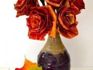 Фото: Троянди з осіннього листя. Як виготовити