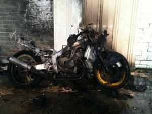 Фото: У Пирятині горів мотоцикл