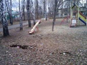 Фото: У Полтаві на дитячому майданчику утворилися ями